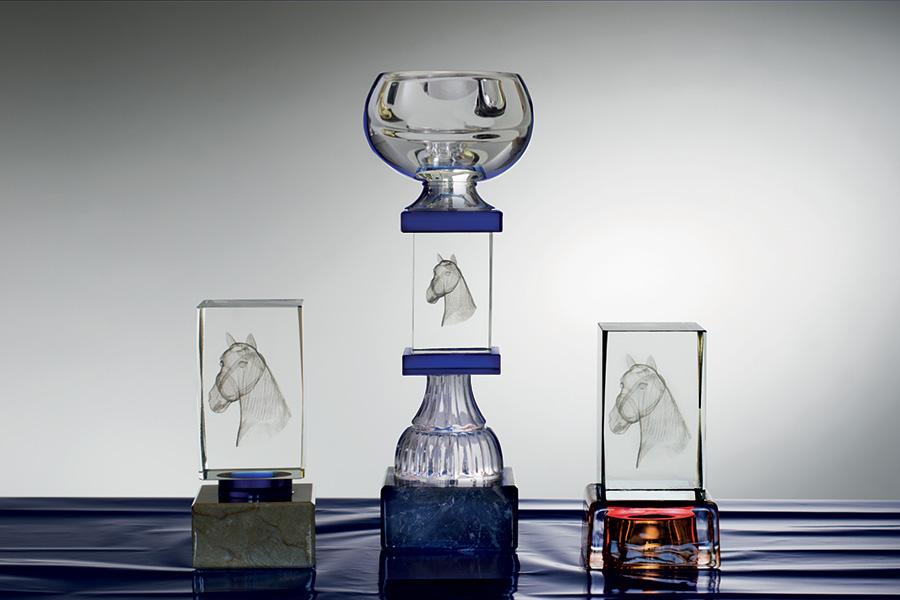Outlet Trofeos de Equitación. Cristal óptico Oclusión. Grabado.