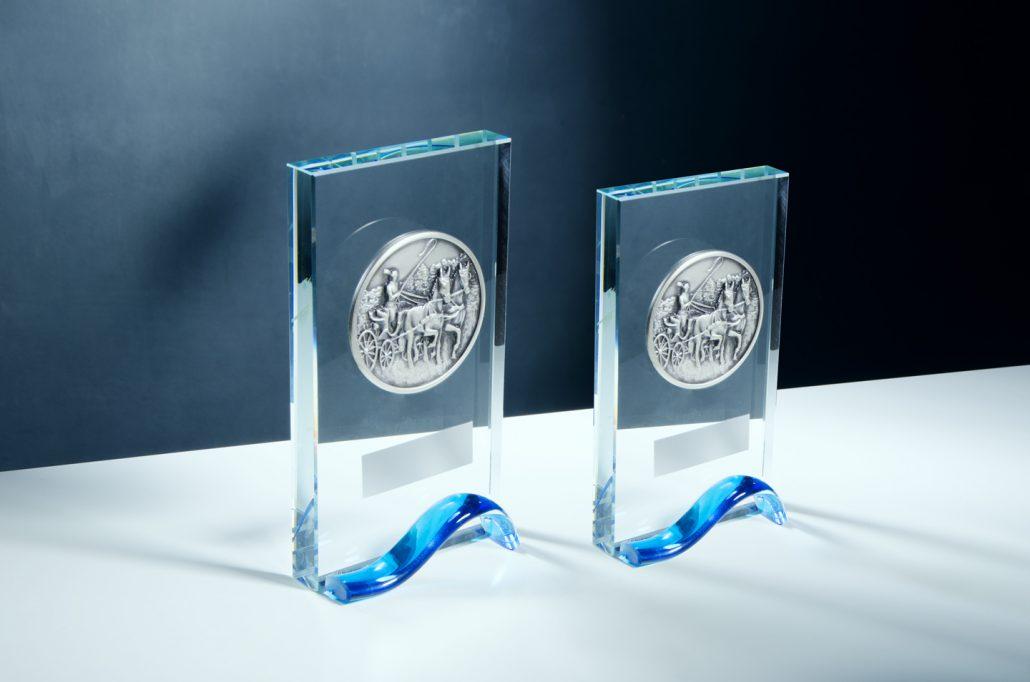 Trofeos de Cristal óptico de alta calidad con centro de Bronce. Outlet hasta fin de existencias.